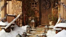 décoration de Noël rustique porte d'entrée