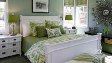 vert et blanc linge de lit et rideaux