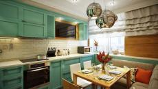 belle cuisine d'appartement en vert et blanc