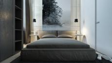 chambre design minimaliste en gris