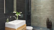 Déco épurée et minimaliste pour cette salle de bain rustique