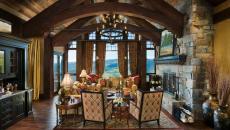 séjour rustique bois belle demeure montagne