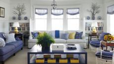 séjour maison de vacances design intérieur bleu
