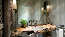 ambiance rustique ameublement salle de bain design original