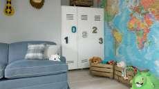 chambre d'enfants déco joyeuses mobilier vestiaires métalliques