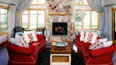 intérieur séjour rustique déco rouge