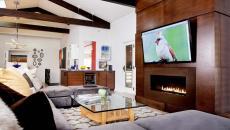 maison contemporaine luxe cheminée télé montée
