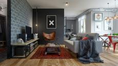 séjour moderne maison design en gris