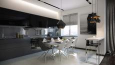 coin repas dans la cuisine moderne d'appartement