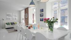 salle à manger salon tout en blanc