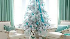 décoration idées blanc turquoise arbre de Noël