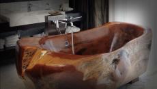 baignoire creusée bois design luxe