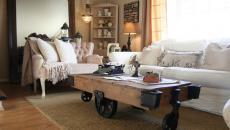 Jolie table basse en bois et fer pour un séjour élégant