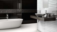 salle de bain moderne élégante carrelage noir & blanc