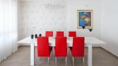 Blanc et rouge salle à manger moderne