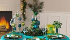 bleu vert thématique décoration table de repas Noël