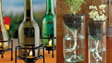 ancienne bouteille coupée bougeoir vase