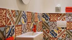 toilettes carrelages géométriques design