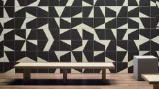carrelage mural créatif salle de bains noir