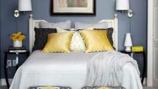 chambre à coucher en bleu marin et jaune british
