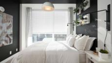 chambre à coucher gris & linge de lit blanc