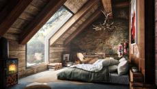 chambre grenier intérieur bois rustique brut