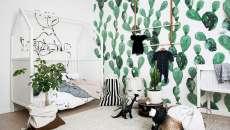 décoration maison nouveau-né bébé mur papier peint cactus