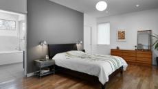 chambre épurée et simple en gris & blanc