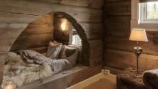 intérieur bois lit double design original