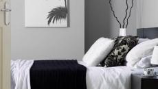 chambre en gris et blanc ameublement