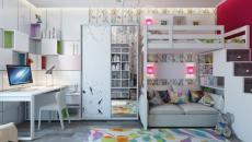 chambre multicolore décorée fille