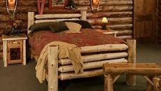 lit en rondins en bois