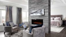 gris tendance intérieur design chambre cheminée moderne