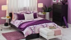 Chambre déco palette mauve violette