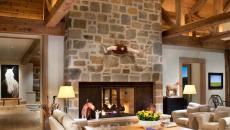 séjour design rustique cheminée