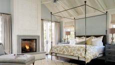 design intérieur chambre traditionnelle avec cheminée