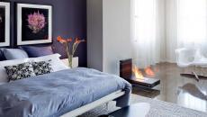 design moderne cheminée originale chambre