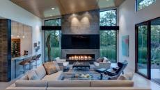 idées déco séjour luxe contemporaine cheminée