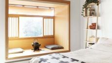 design déco zen chambre banquette fenêtre