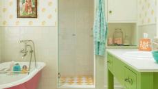 salle de bain baignoire placard repeint