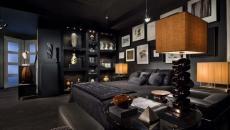 chambres couleurs foncées design viril homme