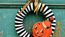 idées déco porte d'entre couronne de porte Halloween
