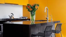 placards jaunes cuisine design moderne