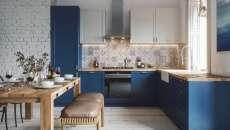 appartement avec une grande cuisine en L salle à manger familiale design