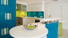cuisine design déco en vert et bleu