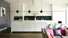 Luminaire LED cuisine blanche contemporaine aménagée