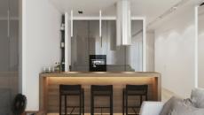 petite cuisine studio moderne blanc et noir