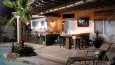 cuisine d'été piscine jardin design luxe maison