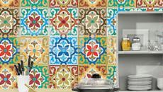 carreaux de ciment multicolores dosserets de cuisine
