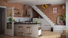duplex cuisine design sous l'escalier
